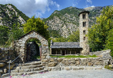Santa Coloma church of pre-Romanesque structure at Andorra royalty free stock images
