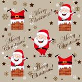 Santa colou acima em um teste padrão da chaminé Imagem de Stock