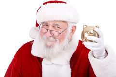 Santa com banco Piggy Foto de Stock Royalty Free