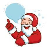 Santa com bolha do discurso que aponta acima Imagens de Stock Royalty Free