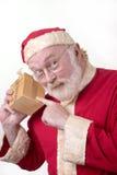 Santa com caixa Imagens de Stock Royalty Free