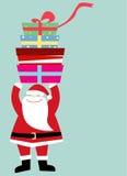 Santa com caixa de presente Fotos de Stock