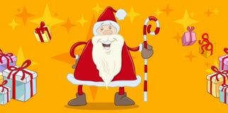 Santa com cartão do bastão ilustração stock