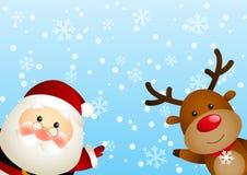 Santa com cervos Imagens de Stock Royalty Free