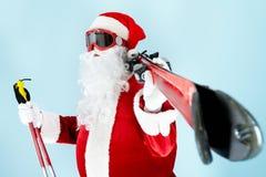 Santa com esquis Imagem de Stock