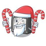 Santa com medidor da amperagem dos doces acima da tabela dos desenhos animados ilustração royalty free