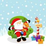 Santa com miúdo Imagem de Stock