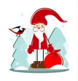 Santa com o presente na floresta Imagens de Stock