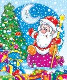 Santa com os presentes de ano novo. ilustração stock
