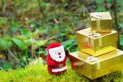 Santa com os presentes do Natal no musgo Fotografia de Stock