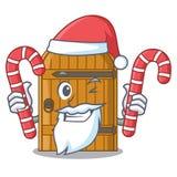 Santa com a porta de madeira do vintage dos doces em desenhos animados da mascote ilustração do vetor