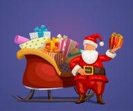 Santa com presente e trenó ilustração do vetor