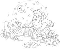 Santa com presentes para uma criança Fotos de Stock Royalty Free