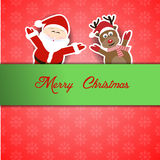 Santa com rena e Feliz Natal Foto de Stock Royalty Free
