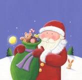 Santa com saco Fotos de Stock
