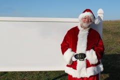 Santa com sinal em branco Fotos de Stock Royalty Free