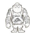 Santa com tatuagens ilustração royalty free