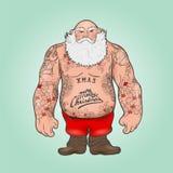 Santa com tatuagens ilustração stock