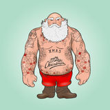 Santa com tatuagens Fotografia de Stock Royalty Free