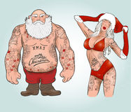 Santa com tatuagens ilustração do vetor