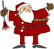 Santa com um espanador da pena ilustração royalty free