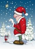Santa com um rato pequeno Foto de Stock Royalty Free