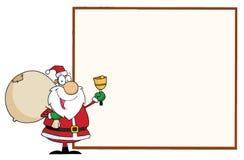 Santa com um sinal em branco Imagem de Stock Royalty Free