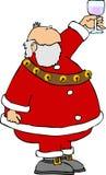 Santa com um vidro do vinho ilustração royalty free