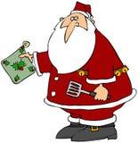 Santa com uma almofada quente Fotos de Stock Royalty Free