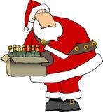 Santa com uma caixa de frascos de vinho ilustração royalty free