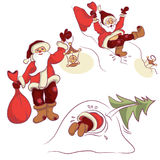 Santa. Comical Santa Claus,  illustration Stock Photos