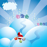 Santa is Coming. Santa Claus staring at the houses on the top of the hill, ready to bring them presents Royalty Free Stock Photo