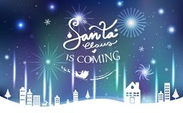 Santa is coming, celebration, aurora light with fireworks, Merry stock illustration