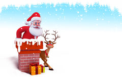 Santa is coming out of chimney Royalty Free Stock Photography