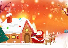 Santa is coming to town, reindeer, fantasy snow falling poster c royalty free illustration