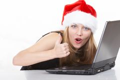 Santa and computer Stock Images