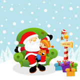 Santa con el cabrito Imagen de archivo