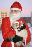 Santa con el gato, la Navidad fotografía de archivo libre de regalías