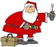 Santa con gli strumenti Fotografia Stock