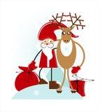Santa con i cervi Fotografia Stock Libera da Diritti