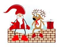 Santa con i cervi Fotografie Stock