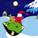 Santa con i regali sulla slitta Immagine Stock