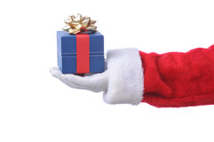 Santa con il contenitore di regalo blu Fotografia Stock