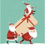 Santa con il contenitore di regalo enorme illustrazione vettoriale