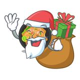 Santa con il picchiettio del regalo tailandese sul piatto della mascotte illustrazione di stock