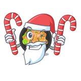 Santa con il picchiettio della caramella tailandese sul piatto della mascotte illustrazione di stock