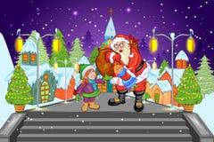 Santa con il regalo alla notte di Natale Fotografia Stock Libera da Diritti