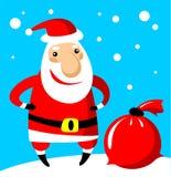 Santa con il sacchetto Fotografie Stock Libere da Diritti