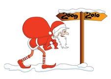 Santa con il sacchetto dei regali illustrazione vettoriale