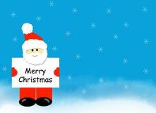 Santa con il segno di Buon Natale orizzontale Fotografia Stock Libera da Diritti